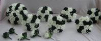 WEDDING PACKAGE-ARTIFICIAL FLOWERS FOAM ROSE BOUQUETS BLACK / WHITE BRIDE